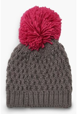 Womens Grey Contrast Over Sized Pom Beanie