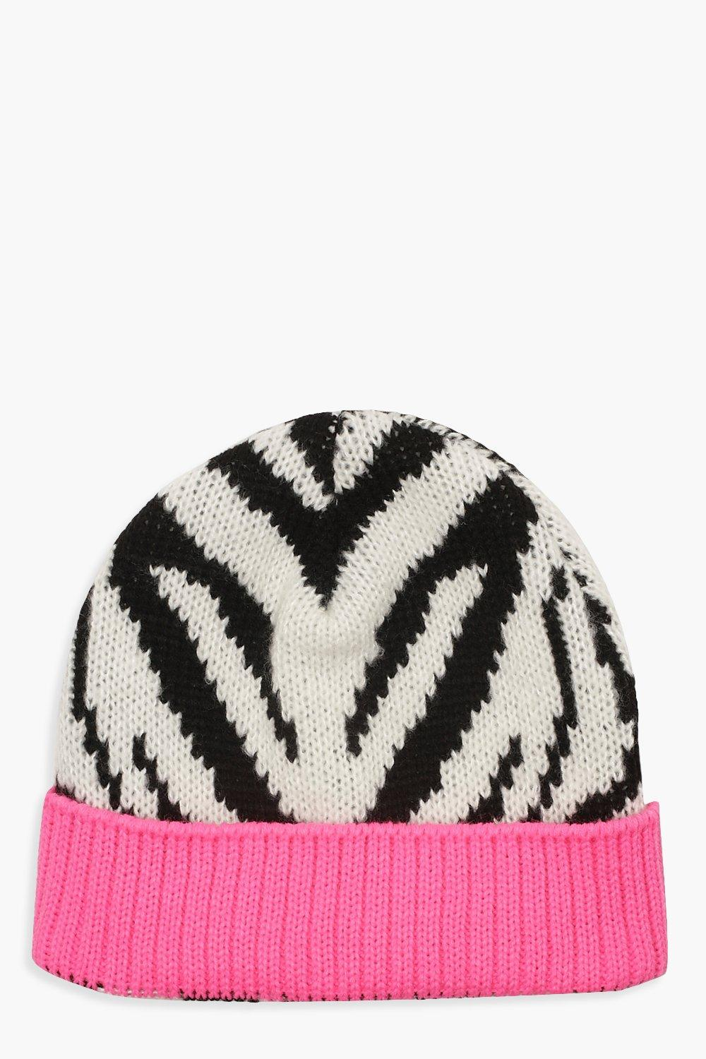 Zebra Print Colour Pop Beanie