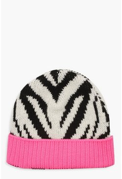 Zebra Print Colour Pop Beanie, Multi, Donna