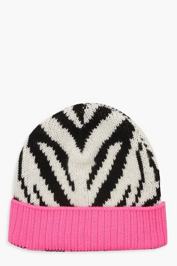 Womens Multi Zebra Print Colour Pop Beanie
