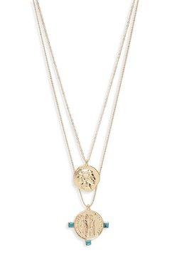 Sovereign Coin Double Layer Necklace, Gold, FEMMES