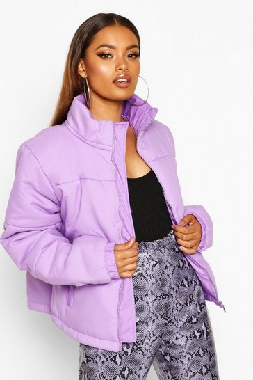 Womens Lilac Funnel Neck Puffer Jacket
