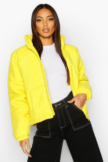 Womens Lime Funnel Neck Puffer Jacket