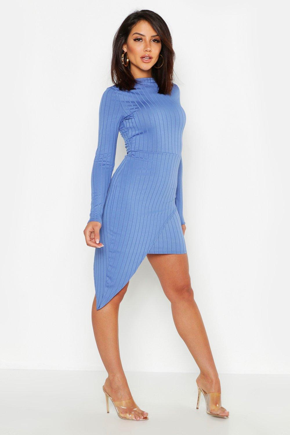 b58a141c1766 Womens Denim-blue Ribbed High Neck Wrap Skirt Midi Dress. Hover to zoom