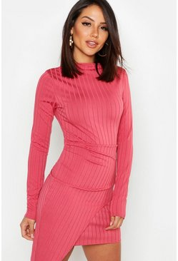 Ribbed High Neck Wrap Skirt Midi Dress, Rose, ЖЕНСКОЕ
