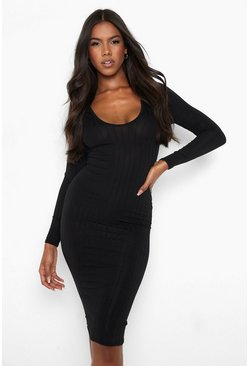 Womens Black Ribbed Plunge Neck Midi Dress