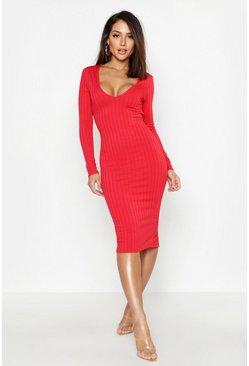 Womens Red Ribbed Plunge Neck Midi Dress