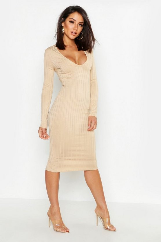 Taupe Ribbed Plunge Neck Midi Dress