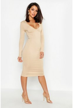 Womens Taupe Ribbed Plunge Neck Midi Dress