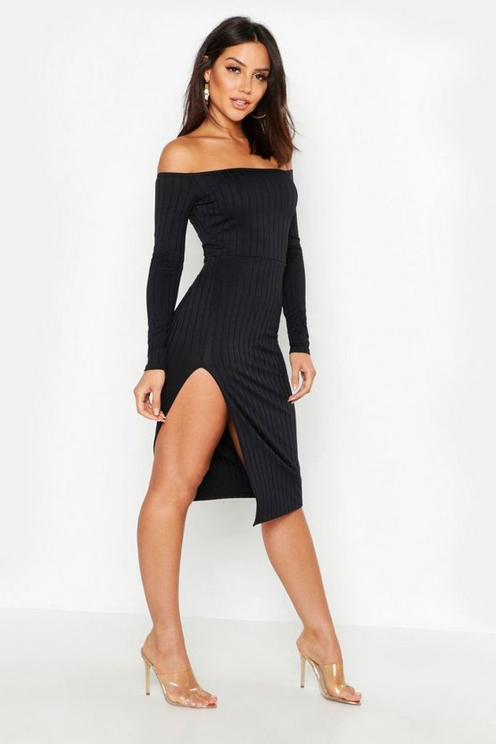 Ribbed Off The Shoulder Thigh Split Midi Dress