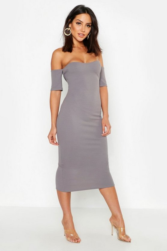 Womens Dark grey Curved Neckline Off Shoulder Midi Dress
