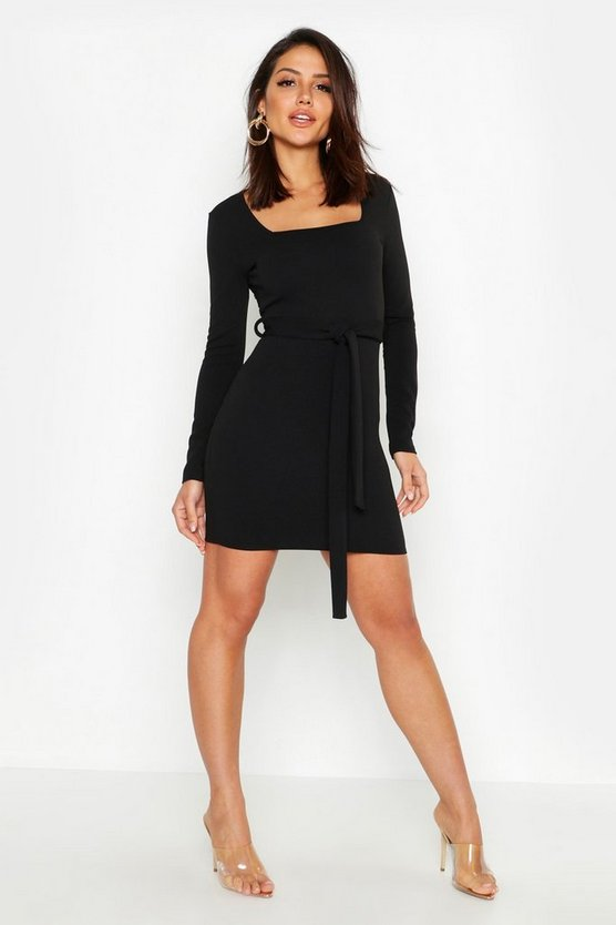 Womens Black Long Sleeve Belted Bodycon Dress