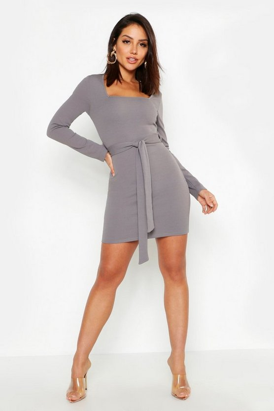 Long Sleeve Belted Bodycon Dress, Dark grey, MUJER