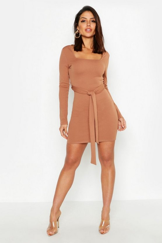 Womens Toffee Long Sleeve Belted Bodycon Dress