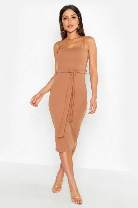 Womens Toffee Cross Strap Belted Midi Dress