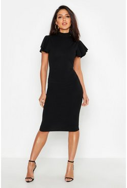 Black High Neck Frill Sleeve Midi Dress