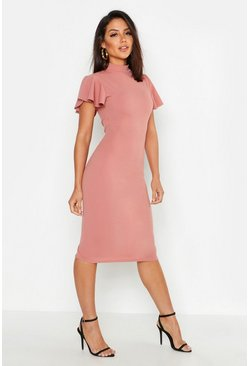 High Neck Frill Sleeve Midi Dress, Rose