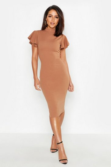 Womens Toffee High Neck Frill Sleeve Midi Dress