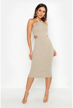 Womens Slate Cut Out Detail Midi Dress