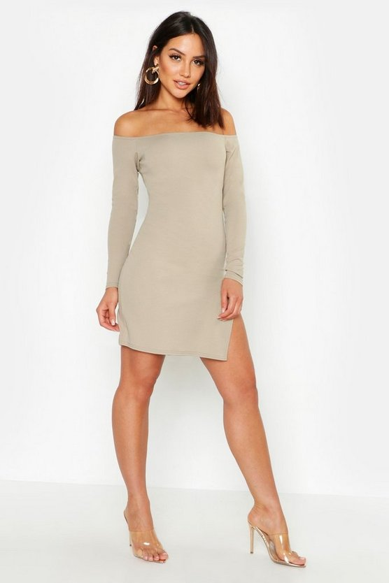 Womens Slate Thigh Split Off The Shoulder Bodycon Dress