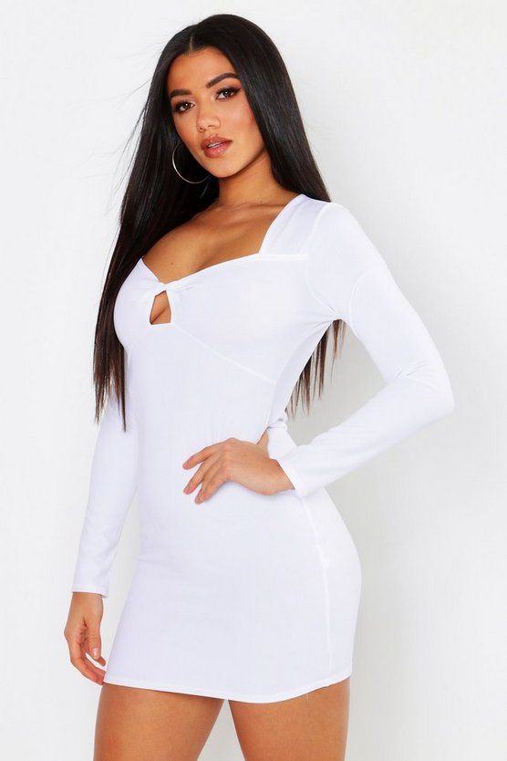 White Twist Bust Long Sleeve Bodycon Dress