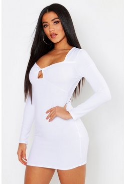 Womens White Twist Bust Long Sleeve Bodycon Dress
