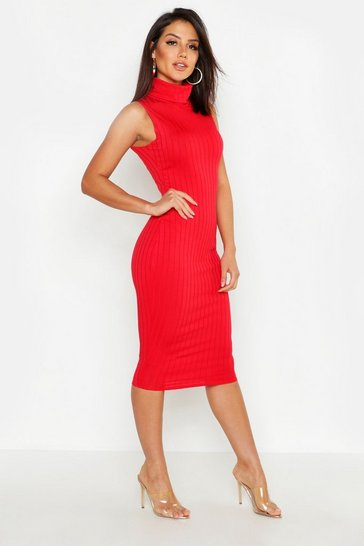 Womens Red Ribbed High Neck Sleeveless Midi Dress