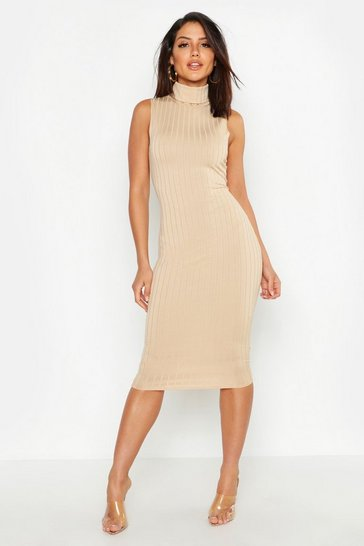 Womens Taupe Ribbed High Neck Sleeveless Midi Dress