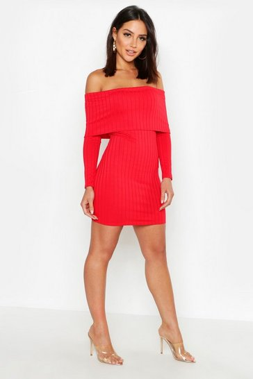Womens Red Ribbed Folded Off The Shoulder Bodycon Dress