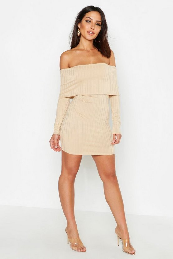 Taupe Ribbed Folded Off The Shoulder Bodycon Dress