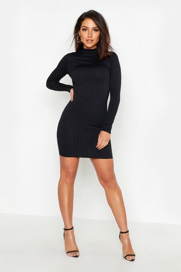 Womens Black Ribbed High Neck Bodycon Dress