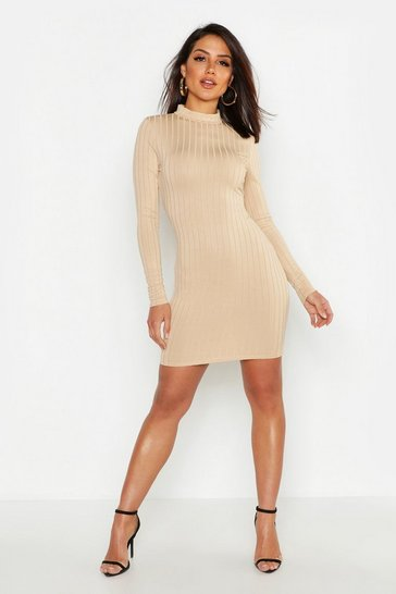Womens Taupe Ribbed High Neck Bodycon Dress