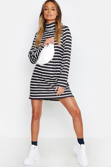 Womens Black Roll Neck Striped Oversized T-Shirt Dress