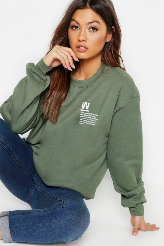 Womens Khaki Woman Paragraph Slogan Sweat