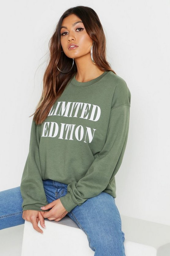 Womens Khaki Limited Edition Slogan Sweater