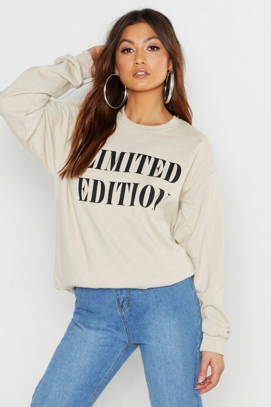 Womens Sand Limited Edition Slogan Sweater