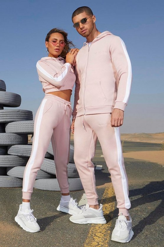 Her Contrast Panelled Crop Hooded Tracksuit by Boohoo