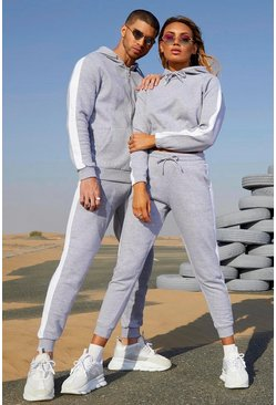 Her Contrast Panelled Crop Hooded Tracksuit, Grey marl