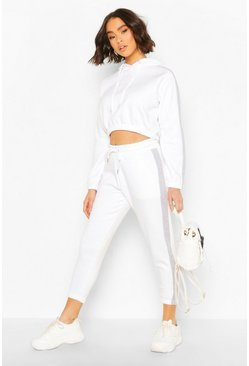 White Her Contrast Panelled Crop Hooded Tracksuit