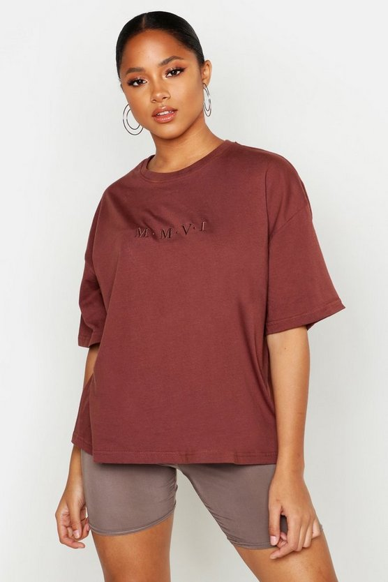 Womens Nutmeg Oversized Embroidered T-Shirt