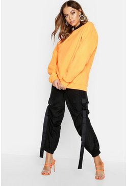 Womens Orange Neon Oversized Sweat