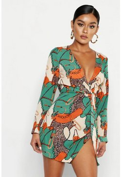 Womens Green Satin Chain Print Twist Shift Dress