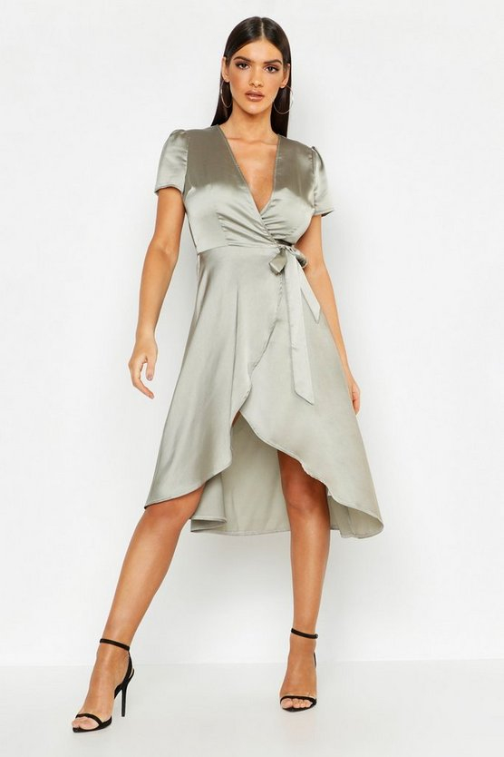 Satin Cap Sleeve Wrap Midi Dress