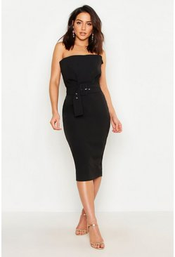 Womens Black Woven Bandeau Belted Midi Dress