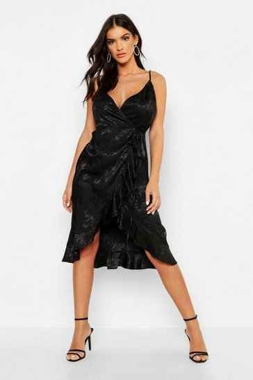 Womens Jaquard Satin Frill Wrap Midi Dress