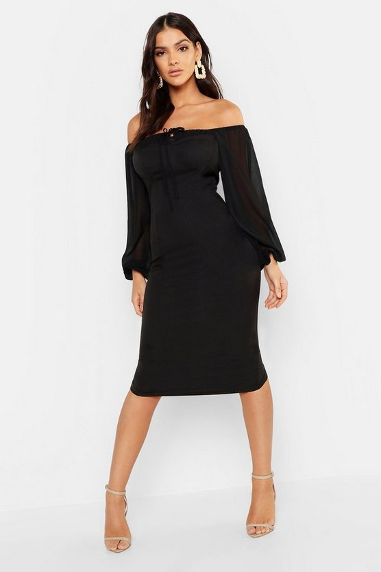 Womens Black Off The Shoulder Blouson Bustier Midi Dress