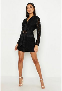 Black Lace Belted Wrap Dress