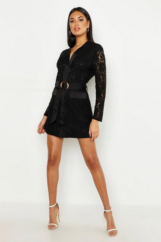 Womens Black Lace Belted Wrap Dress
