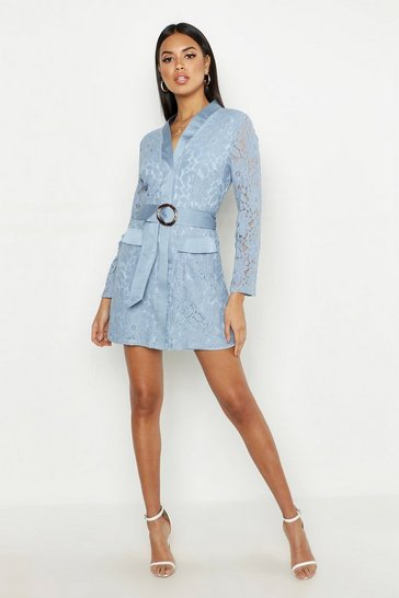 Womens Blue Lace Belted Wrap Dress