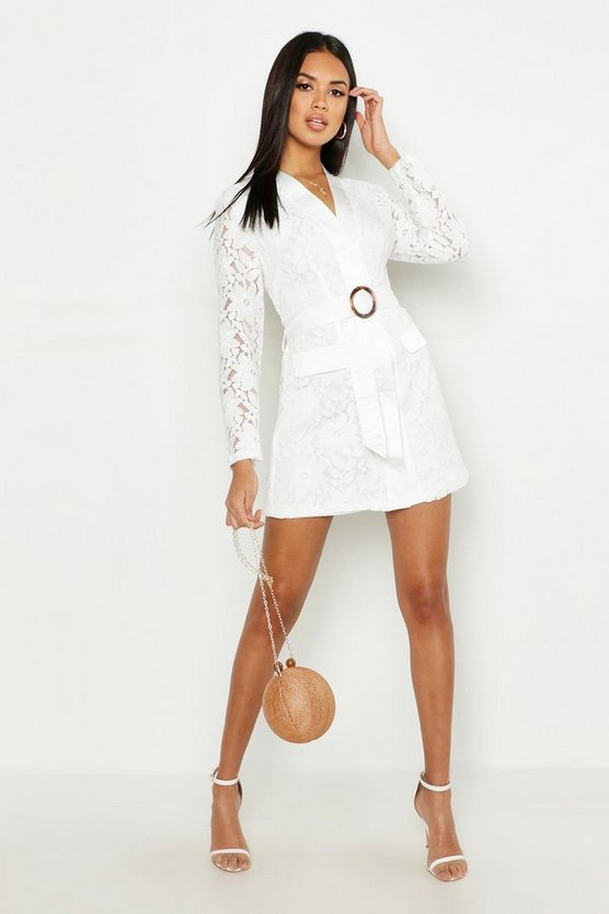 Ivory Lace Belted Wrap Dress